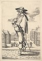 A gentleman, turned three-quarters to the left, wearing a hat and boots with spurs, carrying a sword in his belt, a town square in the background MET DP829201.jpg