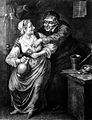 A lecherous old man leans over to a molest a woman who holds Wellcome L0019222.jpg
