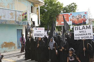 Sharia - A public demonstration calling for Sharia law in Maldives, September 2014