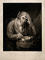 A sick man holding his head, leaning on a pile of books and Wellcome V0016565.jpg