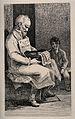 A sitting blind beggar sells 'love sonnets' to obtain money Wellcome V0015890.jpg