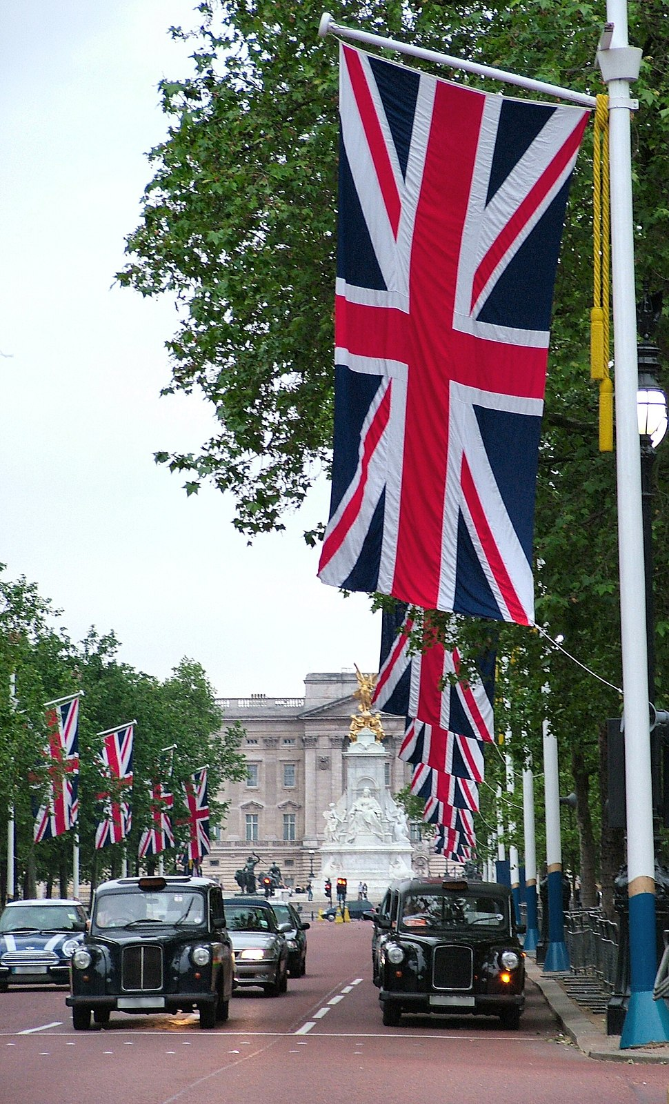 Rows of Union Flags line each side of The Mall, London.