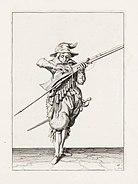 Aanwijzing 10 voor het hanteren van het musket - V lont afblaest, en u pan opent (Jacob de Gheyn, 1607)