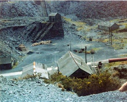 Aberllefenni Slate Quarry with a water balance incline in the background