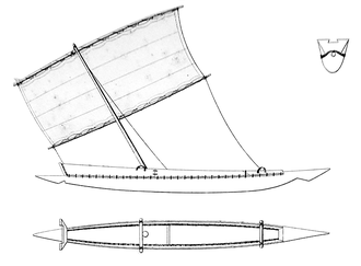 Native boat of Senegal (ca. 1845). Admiral Francois-Edmond Paris - 1845 - Senegal Boat.png