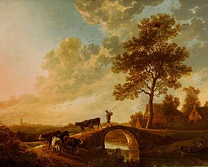 A Herdsman Driving Cattle over a Bridge