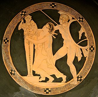 Slavery in ancient Greece - Women as plunder of war: Ajax the Lesser taking Cassandra, tondo of a red-figure kylix by the Kodros Painter, c. 440-430 BC, Louvre.