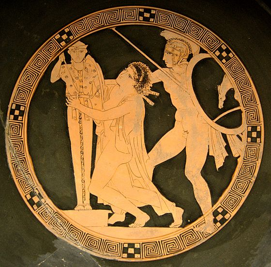 Women as plunder of war: Ajax the Lesser taking Cassandra, tondo of a red-figure kylix by the Kodros Painter, ca. 440-430 BC, Louvre