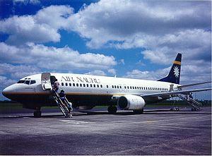 Hamilton Airport (New Zealand) - An Air Nauru Boeing 737-400 operating for Kiwi Air at Hamilton in 1995