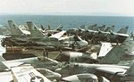 Aircraft of Carrier Air Wing 6 on USS Forrestal (CV-59) in 1985.jpg