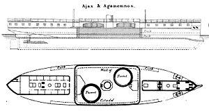 HMS Ajax (1880) - Image: Ajax Brasseys Drawing