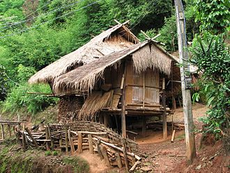 Thai highlands - Akha hut in the hills near Chiang Rai