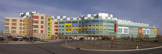 Located in Calgary, Alberta Children's Hospital is the largest pediatric hospital in the province. Alberta Children's Hospital 3+4.jpg
