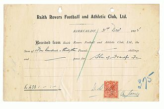 Stark's Park - Alex James' share of the transfer fee which helped fund the main stand.