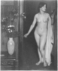 Alfred Stieglitz--Female Nude Standing in Doorway with Small Mirror in Hand-, Clarence H. White, 1907.jpg