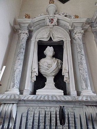 Stephen Fox - Mural monument to Elizabeth Whittle (d.1696), first wife of Sir Stephen Fox, in the Ilchester Chapel of Farley Church