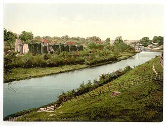 Allington Castle - 1890s view of Allington Castle, illustrating its riverside location