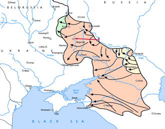 Battle of Nikolayevka - The Alpini positions on the river Don before the Soviet advances during operations Uranus, Mars and Saturn and their line of retreat in red.