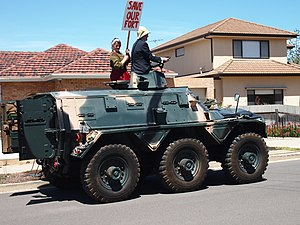 Alvis Saracen - An Alvis Saracen in a community protest against the sale of Fort Largs, South Australia