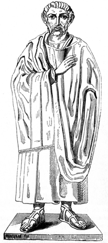 Drawing based on a statue of Saint Ambrose AmbroseStatue.png