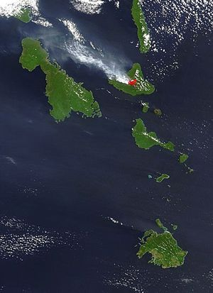Ambrym - Ash plume from Ambrym Volcano, October 4, 2004