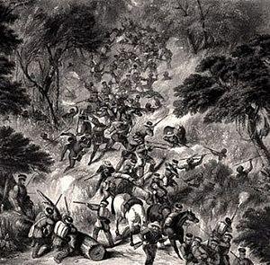 Maqoma - A British column (74th Highlanders) under ambush in the Waterkloof forests.