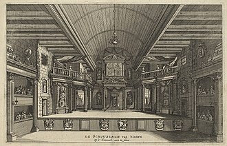 Salomon Savery - Engraving of the Schouwburg of Van Campen, Amsterdam