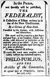 A 1787 advertisement for The Federalist