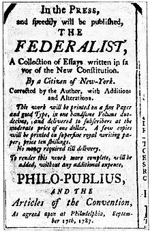 the federalist papers an advertisement for the federalist 1787 using the pseudonym philo publius