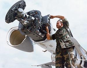 AN/APG-65 radar family - AN/APG-65 radar installed in an F/A-18 Hornet.
