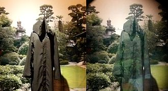 Active camouflage - An invisibility cloak using active camouflage by Susumu Tachi. Left: The cloth seen without a special device. Right: The same cloth seen through the half-mirror projector part of the Retro-Reflective Projection Technology