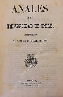 Anales de la Universidad de Chile. 1844, 1 Numero, Año 1