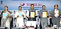 Anand Sharma releasing conference papers at the 1st International Conference on Technical Textiles – TECHNOTEX 2011, in Mumbai. The Chief Minister Maharashtra, Shri Prithviraj Chavan and the Secretary, Ministry of Textiles.jpg