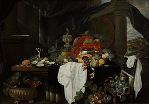 Andries Benedetti - Pronk still life with fruit, oysters and lobsters