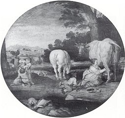 Country Scene with Milkmaid and Children Playing with Armour: March and April