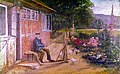 Anton Nissen - Netz flickender alter Fischer vor seinem Haus in Gothmund 1895.jpg