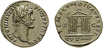 Temple of Divus Augustus - Temple of Divus Augustus on a coin of Antonius Pius issued circa AD 158