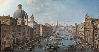 Piazza Navona - Piazza Navona Flooded by Antonio Joli. Circa 1760