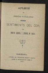 Aplech de poesías catalanas tituladas Sentiments del cor