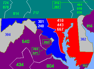Area codes 410, 443, and 667 - Maryland consists of the red and blue areas. The red area indicates area codes 410, 443, and 667.