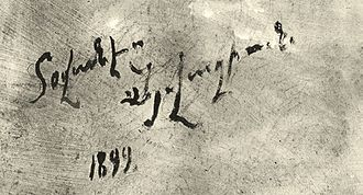 Ivan Aivazovsky - Aivazovsky's signature in Armenian on oil painting from 1899