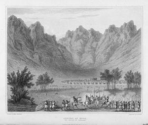 Mandara Kingdom - Arrival at Mora, the capital of Mandara by British explorer Edward Francis Finden in 1826.