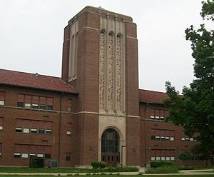 Arsenal Technical High School - The Stuart Hall bell tower is one of the tallest structures on campus, matched only by the Arsenal.