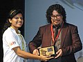 Art Director of the film Embrace of the Serpent, Mr. Ramses Benjumea Torres being felicitated at the 46th International Film Festival of India (IFFI-2015), in Panaji, Goa on November 28, 2015.jpg