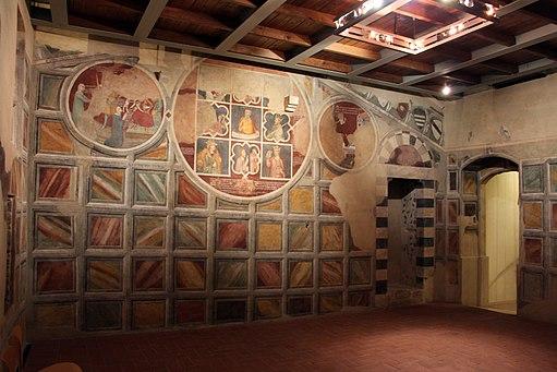 Asciano, museo di palazzo corboli, int., sala di aristotele con affreschi attr. a Cristoforo di Bindoccio e Meo di Pero, XIV sec. 01