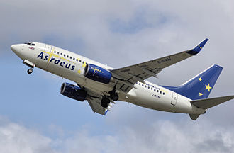 Astraeus Airlines - An Astraeus Boeing 737-700 takes off from Bristol Airport, England (2008)