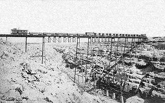 Canyon Diablo (canyon) - Atchison, Topeka and Santa Fe Railway bridge over Canyon Diablo, circa 1883-1903