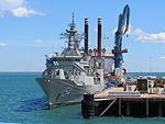 Athena and HMAS Parramatta (FFH 154) docked at Fort Hill Wharf.jpg
