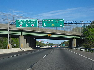 Atlantic City Expressway - Eastbound on the Atlantic City Expressway approaching the Garden State Parkway in Egg Harbor Township