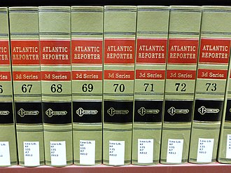 Atlantic Reporter - Volumes of the Atlantic Reporter at a law library.